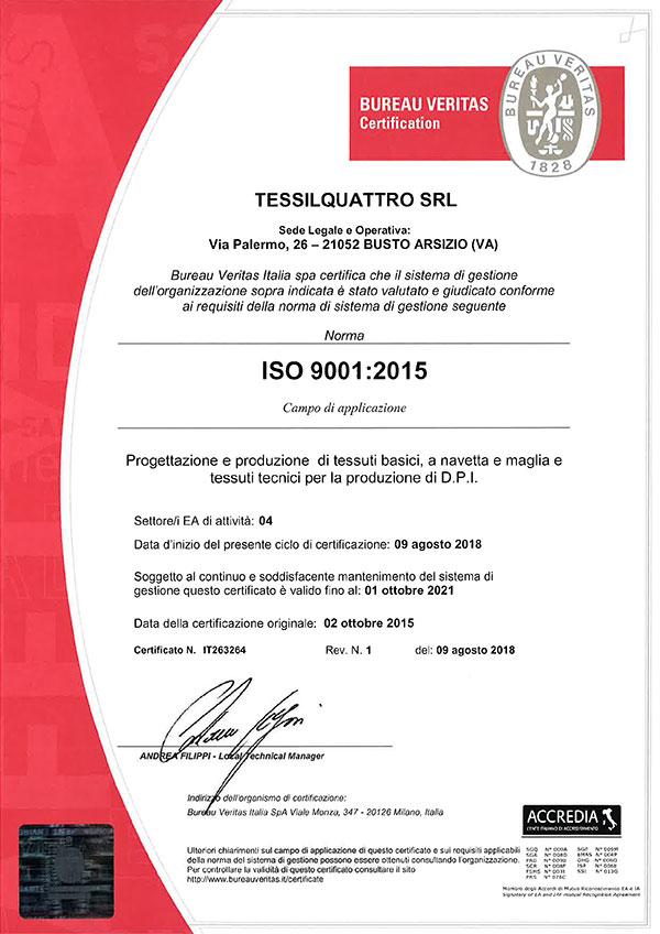 Certifications Tessilquattro Srl